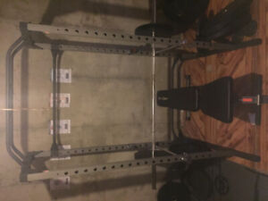 Full gym with over 500lbs of Rogue plates/FR rack,benchw/oly bar