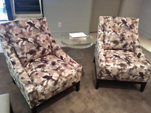 Floor model Kelly Harvey Living occasional chairs, never used.