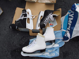 Size 8 mens Bauer hockey and size 5 womens bauer figure skates