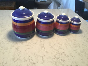 Colourful ceramic Cannisters set