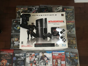 PS3 and 2 remotes with games