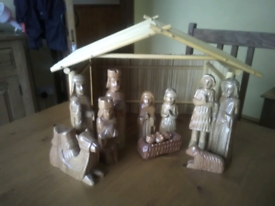 Wooden nativity set and stable