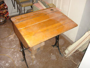 Antique adjustable woodschool desk