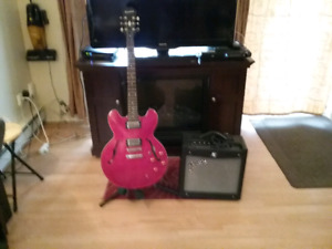 Epiphone Dot Guitar with Fender Amp and cord.  No case.
