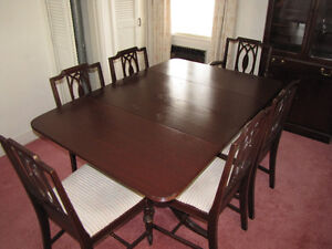 Dining Room Table, China Cabinet & Six Chairs