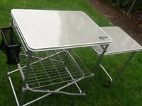Camping kitchen equipment - washing up stand and kitchen larder with windsheild