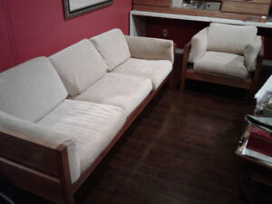 Solid teak matching couch and chair
