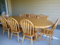 dining room table, eight chairs, buffet