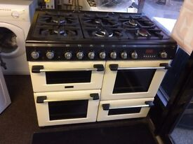 Black & cream cannon 100cm six burners dual fuel cooker grill & triple oven good condition with