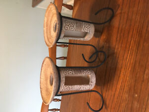2 Stoneware Candle Holders with Metal Pedestal Stands