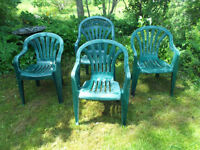 4-green patio/lawn chairs