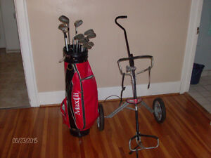 Golf clubs, bag, foldable pull cart