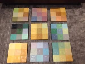 Set of 9 coordinating multi color canvasses