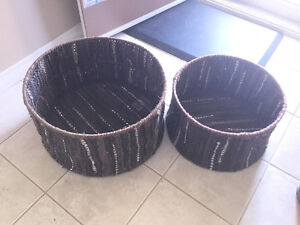 LEATHER woven baskets- Nice set, great storage!