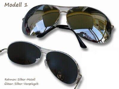 Verspiegelte Sonnenbrille Silber gute Qualität UV400 Pilot Brille Strand Sonne