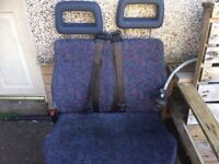 Van seats double built in belts transit ldv iveco sprinter vivaro