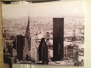 NYC skyline black and white canvas
