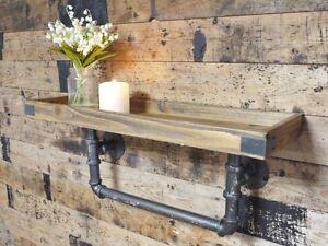 Antique Industrial Urban Pipe Wood & Steel Shelf Storage Wall Shelving Unit 60cm