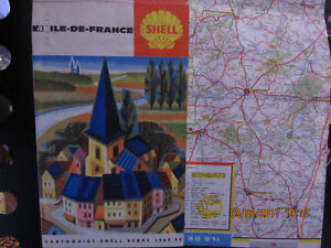 Vintage rare Ile de France Shell Tourist Map printed in 1965