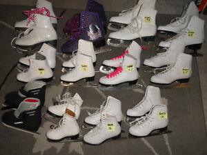 12 Pair Girl's Figure Skates - All Sizes