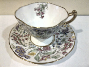 Handpainted Floral Chintz Hammersley Tea Cup and Saucer Set