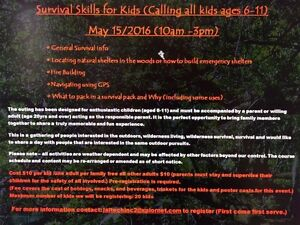 Survival skills for kids ages 6-11 in stony plain area