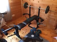 Weiider weight bench body sculpture and accessories in nearly new condition