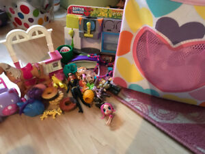 Storage bins with lot of toys uncle beanies, plush, jewelry, etc