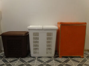 2 laundry hampers (including vintage and Rubbermaid)