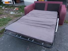 Sofabed - Quality Extra Comfy 2 Seater Purplish Fabric Sofabed. Good C