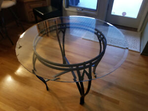 """3.5"""" round glass top dining table"""