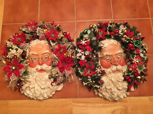 """2 handmade custom Santa Claus  about 12""""inches  round"""