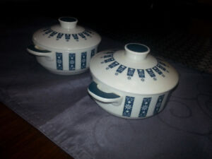 Pair Royal Doulton Moonstone Fine Oven China with Handles