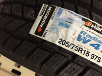 New 4 x 205/75R15 Hankook winter tires, 100% tread