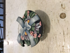 Glass Candy Dish w Handpainted Top