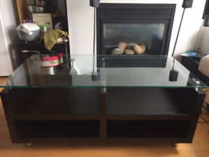 Structube Coffee Table - Glass top with black wood and storage c