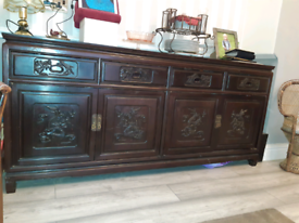 Gothic Beautiful craftmanship antique sideboard with carved images
