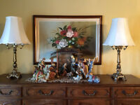 2 Beautiful Antique Brass Lamps