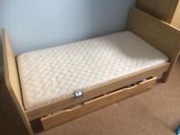 Mamas and papas Oak toddler bed and storage