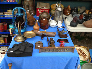 ASSORTED GRANITEWARE, OIL & CIGARETTE CANS, TRAYS, DUCK DECOYS