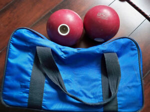 Bowling Balls (2 x with holes and carry case)