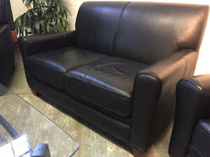 genuine leather love seat and 2 sofa chairs