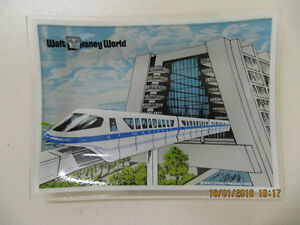 Vintage Walt Disney World Monorail Blue Glass Plate Circa 1970s