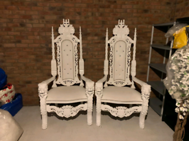 2 white oversized throne chairs £235 a piece-were over £2000 new!