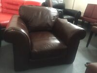 100% Leather 1 Seat Brown Sofa
