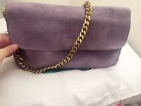 Celebrity must-have Celine suede Gourmette chain bag