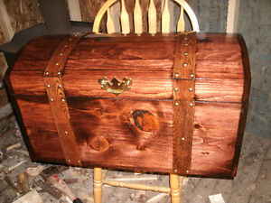 HANDCRAFTED CURVED TOP TREASURE CHEST, HOPE CHEST,WOOD TRUNK