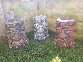 Log Face Garden Ornament