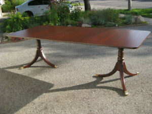 "96"" Duncan Phyfe Mahogany Dining Table, Six Shield Back Chairs"
