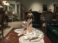 Exotic Tiger + dancer decor -plated 24k Gold Porcelain